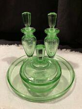 Vintage Green Depression Vanity Set 2 Perfume Bottles Trinket Box Plate Etched