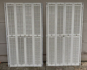 """2 Sets 61"""" Tall x 32"""" Wide Wood Interior Louver Plantation Window Shutters VTG"""