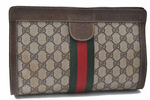 Authentic GUCCI Web Sherry Line Clutch Bag GG PVC Leather Brown Beige C5562