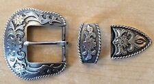 Western Floral Engraved Antique Belt Buckle Set 1 1/2