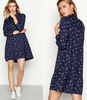 Debenhams by The Collection Navy Blue White Polka Dot Top Shirt Dress Sizes 8-22