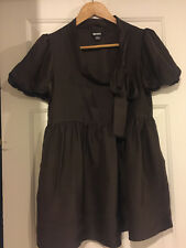 DK100% silk,in excellent condition brown short sleeve bow collar blouse! UK8 US4
