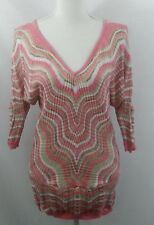 Cache Sweater Size Small Pink White Gold Tan Metallic V neck rayon blend