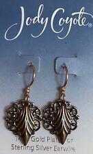 Jody Coyote Earrings JC1008 New 8212 gold leaf dangle made USA