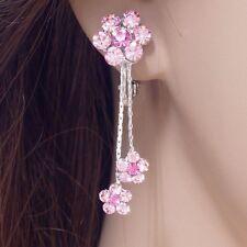 #E852A PAIR Elegant Pink Flower Tassel Crystal CLIP ON screw back EARRINGS 3.7cm