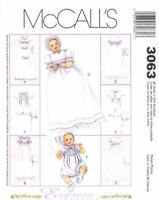 McCalls Sewing Pattern 3063 Infant Baby Christening Gown Bonnets Size NB-L