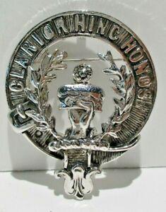 Antique Vintage Buchanan Clan Silver Tone Clarior Hinc Honos Pin Pendant