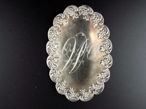 Antique Sterling Silver Belt Buckle Lady's Art Nouveau Large Oval Inscribed 1900