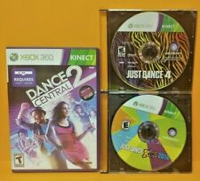 Dance Central 2, Just Dance 3 + Kids 2014  XBOX 360 Game Lot Requires Kinect Bar