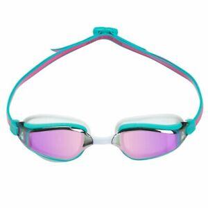 Aqua Sphere Fastlane Swimming Goggles, Mirrored Lens - Mint White & Pink, Fitnes