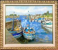 """Alfred Chagniot Well Listed French """"Waiting to Sail"""" 24x29"""" Original Oil on Canv"""