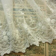 """Antique ST Embroidered Tulle Net Lace Ivory Wedding Dress 18.cm(7.3"""") Wide 1yard"""