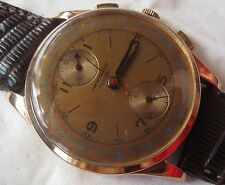 Chronographe Suisse Chronograph mens wristwatch 18K solid gold case 38 mm.