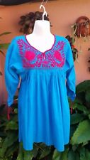 Mexican Handmade Blouse Top Embroidered Boho Hippie Ethnic Size S/M Teal Pink