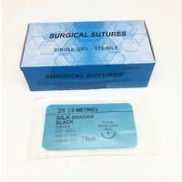 12Pcs/Box Dental Surgical Suture Silk Braided Non Absorbable Suture 75cm 3/0-4/0