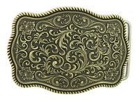Bronze Plated Western Flower Pattern Rectangle Belt Buckle