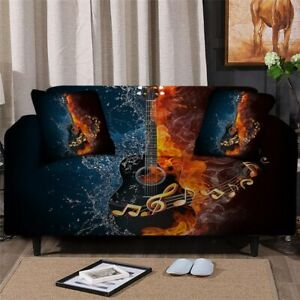 Guitar Music Fire Sofa Chair Couch Cushion Stretch Cover Slipcover Set Decor