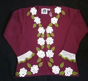 Storybook Knits floral Holiday sweater pink caridigan  magenta cranberry small