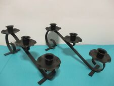 2 VINTAGE WROUGHT IRON, ANGLED STANDING CANDLE HOLDERS FOR 3 CANDLES EACH