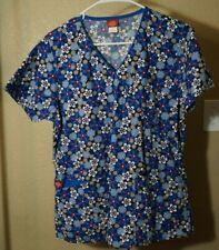 Dickies S blue floral print v neck short sleeve back tie scrub top