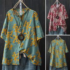 ZANZEA Women Summer Ruffle Neck Button Down Shirt Tee Top Tie Up Floral Blouse