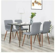 Set of 4 Dining Chairs Fabric Cushion Seat Gray, Modern Dining Room New