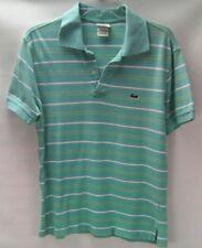 Lacoste Green/Aqua Yellow Striped Polo Shirt Men's Size 6 Large