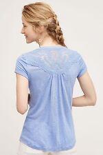 New-Size XS-Anthropologie-Deletta-Women Top-Aria Linen Blouse-Lavender Blue-Lace