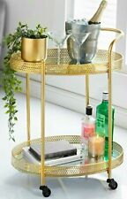 Gold Drinks Serving Trolley with Glass Shelves Coffee Tea Trolley Side End tab