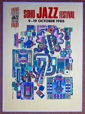 ORIGINAL POP ART POSTER - SOHO JAZZ FESTIVAL 1986 EDUARDO PAOLOZZI YELLOW STYLE.