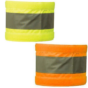 """Pair Armbands Reflective Hi Vis Orange or Yellow Bands Pair Wide Safety 4X18"""""""