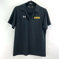 UA Under Armour Sz M Womens Black Polyester Short Sleeve Collar Top Shirt Dewalt