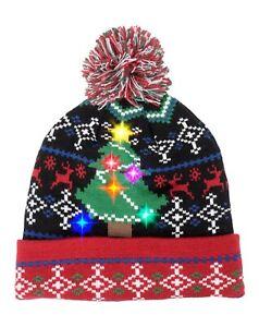 Unisex Men LED Light Up Hat Women Beanie Knit Cap Blinker Xmas Novelty Skullies