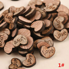 100Pcs Rustic Wood Wooden Love Heart Wedding Table Scatter Decoration Crafts