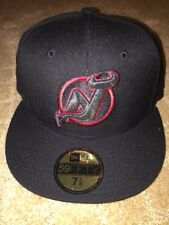 New Jersey Devils All Black Hat New Era Cap 59FIFTY Fitted Hat 7 1/8