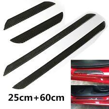 4x Carbon Fiber Car Door Sill Scuff Plate Cover Door Panel Step Guard 60cm+25cm