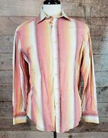 Men's Robert Graham Warm Striped Flip/Contrast Cuff Button-up Shirt - Size L EUC