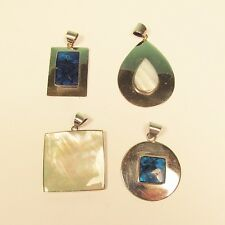 4 PCS Lot Handmade Mother of Pearl Abalone Shell Stainless Steel Pendants