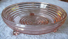 Pink Depression Glass Candy Nut Dish Anchor Hocking Manhattan 3 Footed Bowl