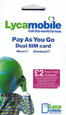 Lycamobile UK SIM Card with £20 Credit (Combo sim - both std & micro size)