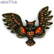 STUNNING GOLD WISE OWL ORANGE AMBER DIAMANTE CRYSTAL BROOCH GIFT PRESENT BROACH