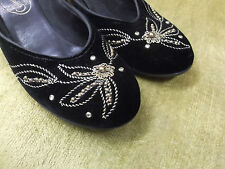 40s 50s Black Velvet Low Heels w/ Gold Cording and Studs Accents by Lewis
