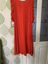 M&S Red Dress Uk 18 Reg Back Detail Calf Length Nwt
