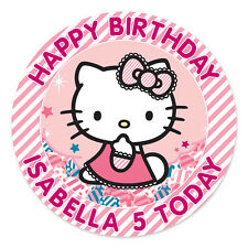 HELLO KITTY PERSONALISED EDIBLE ICING IMAGE PARTY CAKE TOPPER ROUND