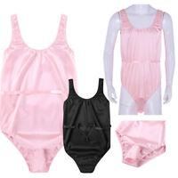Men's Pink Shiny Satin Sleeveless Thongs Leotard Bodysuit Underwear Briefs M-XL