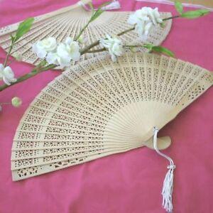 100 Sandalwood Hand Fan Wedding Bridal Favors Asian Summer Beach Theme