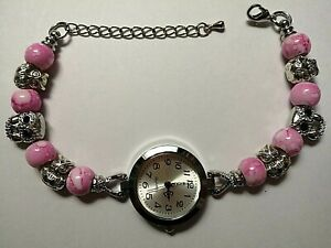 Handmade Silver OWL Watch Bracelet with 6 Silver  Charms