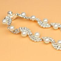 Clear Crystal Rhinestone White Pearl Trim Bridal Dress Sewing DIY Craft 1 yard