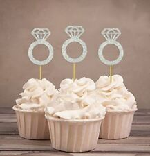 Polka Dot Sky Engagement Ring Cupcake Toppers, Hen Party, Diamond Ring, Silver