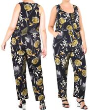 Womens Curve Jumpsuit Elasticated Waist Plus Size 16 18 20 22 All in One NEW